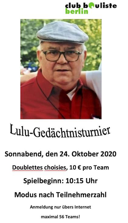 Lulu-Gedächtnisturnier in Tegel. 24.10.2020